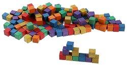 Дървени кубчета - Образователни играчки в памучна торбичка -