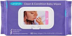 Бебешки мокри кърпички с ланолин - Опаковка от 80 броя - мокри кърпички
