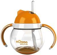 Оранжева неразливаща се чаша със сламка и дръжки - 250 ml - За бебета над 18 месеца -