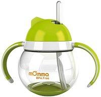 Зелена неразливаща се чаша със сламка и дръжки - 250 ml - За бебета над 18 месеца -
