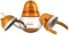 Оранжева неразливаща се чаша - 250 ml - Комплект  с биберон, сламка и твърд накрайник за бебета над 4 месеца - шише