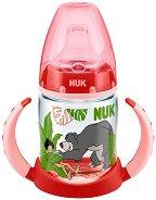 Червена неразливаща се чаша със силиконов накрайник и дръжки - Книга за джунглата - 150 ml - За бебета над 6 месеца -
