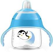 """Синя неразливаща се преходна чаша с дръжки и мек накрайник - 200 ml - За бебета над 6 месеца от серията """"Пингвин"""" -"""