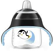 """Черна неразливаща се преходна чаша с дръжки и мек накрайник - 200 ml - За бебета над 6 месеца от серията """"Пингвин"""" - продукт"""
