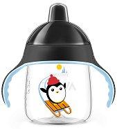"""Черна неразливаща се преходна чаша с дръжки и твърд накрайник - 260 ml - За бебета над 12 месеца от серията """"Пингвин"""" -"""