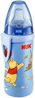 Синьо бебешко шише със силиконов накрайник - Мечо Пух - 300 ml - За бебета над 12 месеца - залъгалка