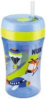 Синя неразливаща се чаша със сламка - 300 ml - За бебета над 18 месеца - биберон