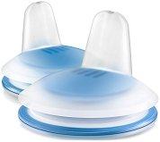 Сини силиконови накрайници с клапа за неразливаща се чаша - Пингвин - Комплект от 2 броя за бебета над 6 месеца -