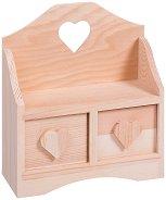 Дървено шкафче с 2 чекмеджета - Сърце - Предмет за декориране