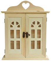 Дървена къщичка за ключове - Сърце - Предмет за декориране