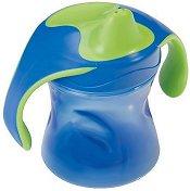 Синя преходна чаша с дръжки и мек накрайник - За бебета над 6 месеца -
