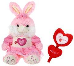 Зайче с рокля и сърца - Обичам те! - Плюшени играчки - играчка