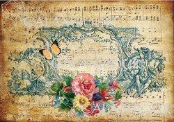 "Декупажна хартия - Ноти и цветя 112 - Серия ""Digital Collection Mulberry"""