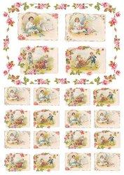 Декупажна хартия - Момиче с цветя 157