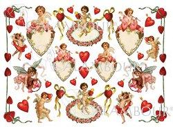 """Декупажна хартия - Сърца и купидони 158 - Серия """"Digital Collection Mulberry"""""""