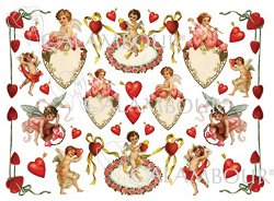 Декупажна хартия - Сърца и купидони 158