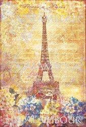 "Декупажна хартия - Цветя в Париж 188 - Серия ""Digital Collection Mulberry"""