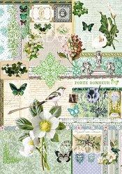 Декупажна хартия - Зелени цветя 223