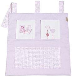Розов органайзер за бебешко креватче - Зайче -