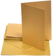 Картончета за картички c пликове - Златен - Комплект от 10 броя