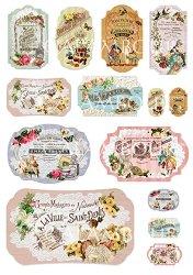 "Декупажна хартия - Етикети 229 - Серия ""Digital Collection Mulberry"""