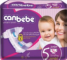 Canbebe Comfort Dry 5 - Junior - Пелени за еднократна употреба за бебета с тегло от 11 до 18 kg -