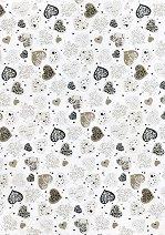 Картон за скрапбукинг - Големи сребристи сърца - Формат А4