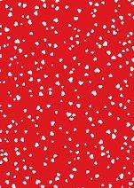 Червен картон за скрапбукинг с бели сърца - Формат А4