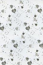 Паус с мотиви - Големи сребристо-черни сърца - Формат А4