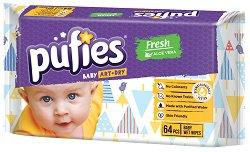 Бебешки мокри кърпички - Pufies Aloe Vera - Опаковки от 64 броя и 4 x 64 броя - душ гел