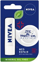 Nivea Med Repair Caring Lip Balm - SPF 15 - Балсам за устни с витамин E - крем