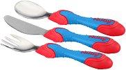 Сини прибори за хранене - Комплект от вилица, лъжица и нож за бебета над 12 месеца -