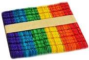 Цветни декоративни дървени пръчици с прорези - Комплект от 50 броя