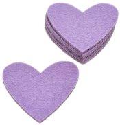 Сърца от филц - Светъл виолет 11 - Комплект от 6 броя