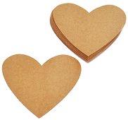 Картонени фигурки - Крафт сърца - Комплект от 12 броя