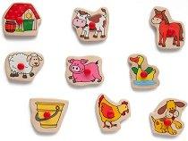Животните във фермата - Дървен пъзел с печати - играчка