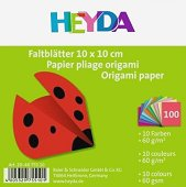 Едноцветни хартии за оригами - Комплект от 100 листа с размер 10  x 10 cm