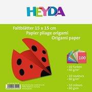 Едноцветни хартии за оригами - Комплект от 100 листа с размер 15  x 15 cm