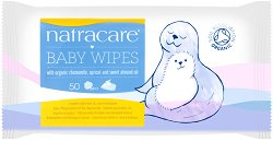Natracare Baby Wipes - Бебешки мокри кърпички в опаковка от 50 броя - мокри кърпички