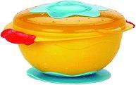 Жълта купа за хранене с капак и подложка - 300 ml - За бебета над 6 месеца -