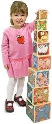 Нареди пирамида от кубчета - Животни - Детска играчка от дърво - играчка