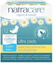 Natracare Ultra Pads Super - Дамски превръзки с крилца в опаковка от 12 броя - сапун