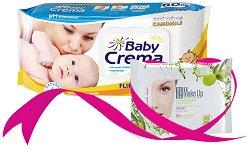 Бебешки мокри кърпички с екстракт от лайка + ПОДАРЪК - Опаковка от 80 броя - мокри кърпички