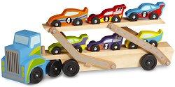 Автовоз на два етажа - В комплект с шест състезателни автомобила от дърво -