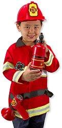 Парти костюм - Пожарникар - Комплект с шлем и пожарогасител -