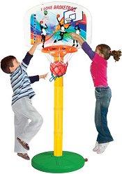 Баскетболен кош и топка - Комплект с регулируема стойка -