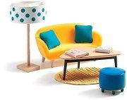 Мебели за хол - Дървено обзавеждане за къща за кукли - играчка