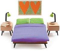 Мебели за спалня - Дървено обзавеждане за къща за кукли - играчка