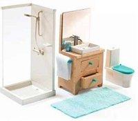 Мебели за баня - Дървено обзавеждане за къща за кукли - играчка