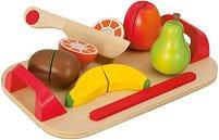 Блюдо с плодове - Детски дървен комплект с дъска и ножче за рязане -